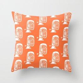 Tuba Pattern Orange Throw Pillow