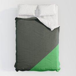 Dark Grey & Bright Green - oblique Comforters