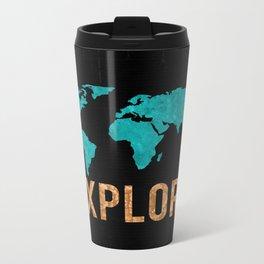 World Map - Teal and Copper Explore Globe Metal Travel Mug