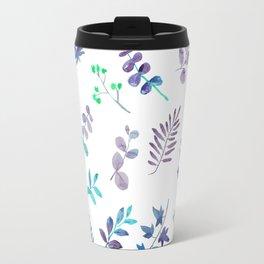 Modern hand painted teal lavender watercolor leaves Travel Mug