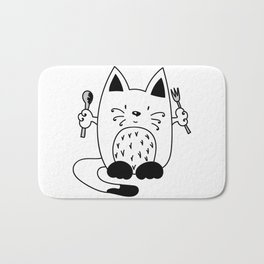 CAT EXPECTING TO EAT Bath Mat