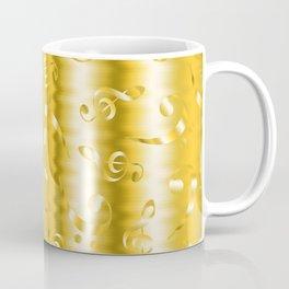Faux Gold Metallic Treble and Bass Musical Notation Coffee Mug