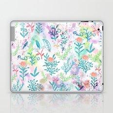 Hand drawn coral pink green watercolor floral Laptop & iPad Skin