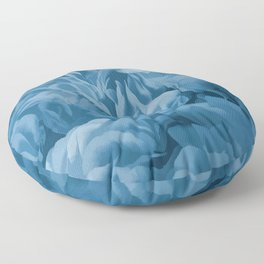 Midnight Blue Petal Ruffle Abstract Floor Pillow