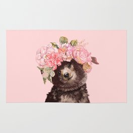 Baby Bear with Flowers Crown Rug