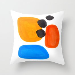 Abstract Mid Century Modern Colorful Minimal Pop Art Yellow Orange Blue Bubbles Ovals Throw Pillow