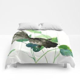 Black Moor Aquarium Fish, Elegant black and green design aquatic black fish Comforters