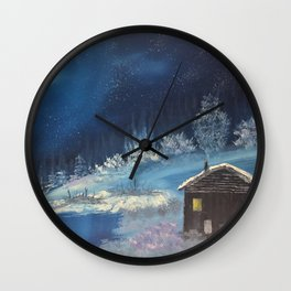 Moonlit cabin Wall Clock