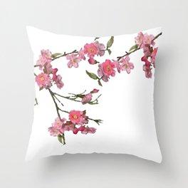 Japan Cherry Flowers white background Throw Pillow