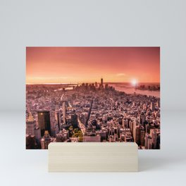 Manhattan in red Mini Art Print