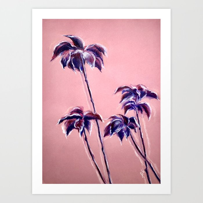Maroon Leaves Pastel And Watercolor Painting On Colored Paper Art Print