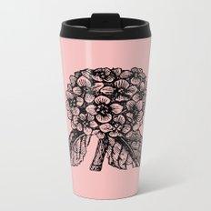 Pink Hydrangea Metal Travel Mug