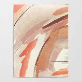 Aly: minimal   pinks   white   black   mixed media   abstract   ink   watercolor   wall art Poster