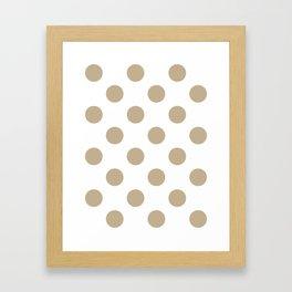 Large Polka Dots - Khaki Brown on White Framed Art Print