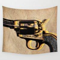 gun Wall Tapestries featuring gun by mark ashkenazi