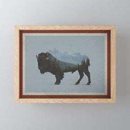 Wyoming Bison Flag Framed Mini Art Print