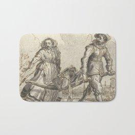 Adriaen Pietersz van de Venne - Man en een vrouw dragen huisraad op een berrie Bath Mat