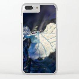 blue fallen leaf Clear iPhone Case
