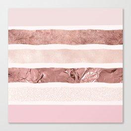 Modern blush pink faux rose gold geometrical stripes Canvas Print