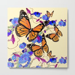 YELLOW MONARCH BUTTERFLY GARDEN & BLUE MORNING GLORIES ART Metal Print