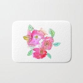 Pink Watercolor Flowers // Floral Feelings Bath Mat