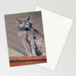 cat with one eye Stationery Cards
