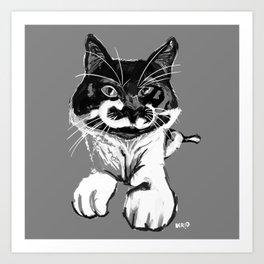 B&W Cat Art Print