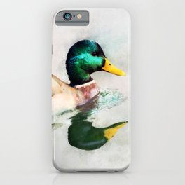 Mallard Duck Bird Wildlife Animal Watercolor Artistic Painting iPhone Case