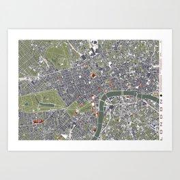 London city map engraving Art Print