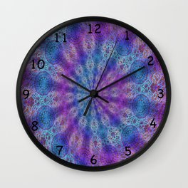 Boho style laces print in blue and pink. Wall Clock