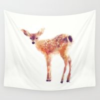 little mix Wall Tapestries featuring Fawn by Amy Hamilton