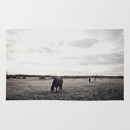 Horses in a Field in Black and White Rug