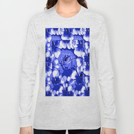Roses Blue and White Toile #2 Long Sleeve T-shirt