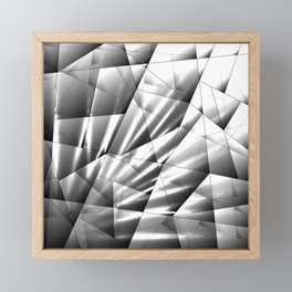 Monochrome pattern of chaotic black and white geometric shapes with reflections of light rays. Framed Mini Art Print