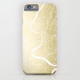 Bangkok Thailand Minimal Street Map - Gold Metallic and White iPhone Case