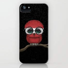 Baby Owl with Glasses and Latvian Flag iPhone Case
