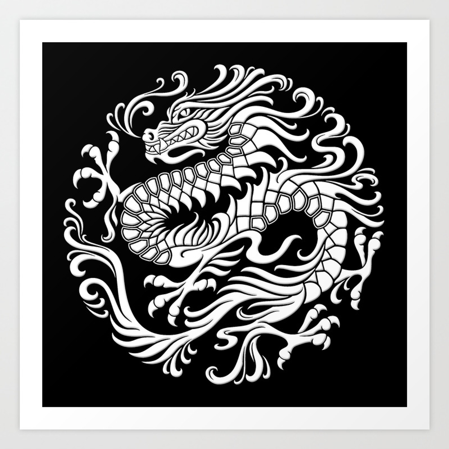Traditional White And Black Chinese Dragon Circle Art Print By