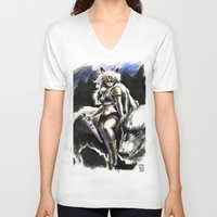 princess mononoke V-neck T-shirts featuring Princess Mononoke by Juan Pablo Cortes