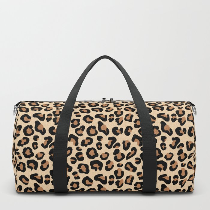 Leopard Print, Black, Brown, Rust and Tan Duffle Bag