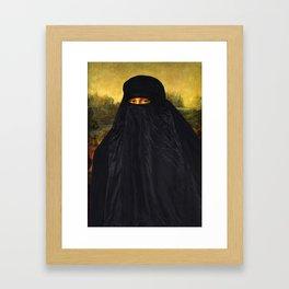 Mona Lisa Hides Her Smile Framed Art Print