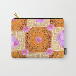 Quilted Style Fuchsia Pink Wild Rose Orange Pattern Abstract Carry-All Pouch