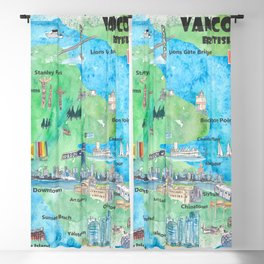 Vancouver British Columbia Canada Travel Poster Favorite Map Blackout Curtain
