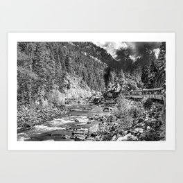 Vintage Durango and Silverton Train in Black and White Art Print