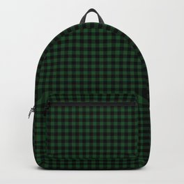Mini Forest Green and Black Rustic Cowboy Cabin Buffalo Check Backpack