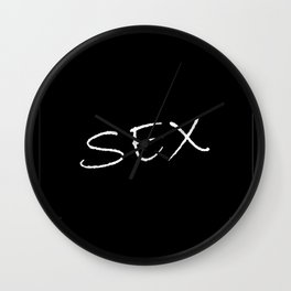 Phrase in relation to sexual desire on a neutral background with contrasting colors. Wall Clock