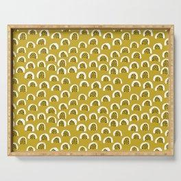 Sunny Melon love abstract brush paint strokes yellow ochre Serving Tray