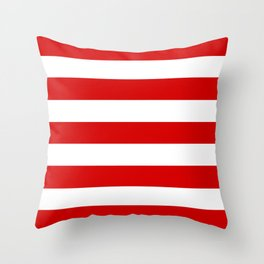 Rosso corsa - solid color - white stripes pattern Throw Pillow