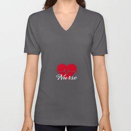 Nurse Heartbeat Love this Job Unisex V-Neck