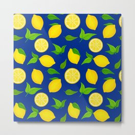 Summer Lemons Pattern - Yellow and Blue Palette Metal Print