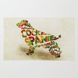 The Cocker Spaniel Dog Typography Art / Watercolor Painting Rug